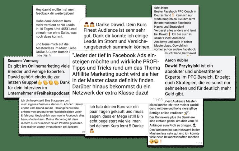 testimonials 2 min Finest Audience by Dawid Przybylski - Facebook Marketing - Instagram Marketing
