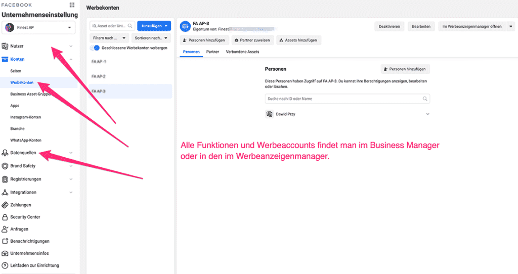 Facebook Businessmanager Übersicht